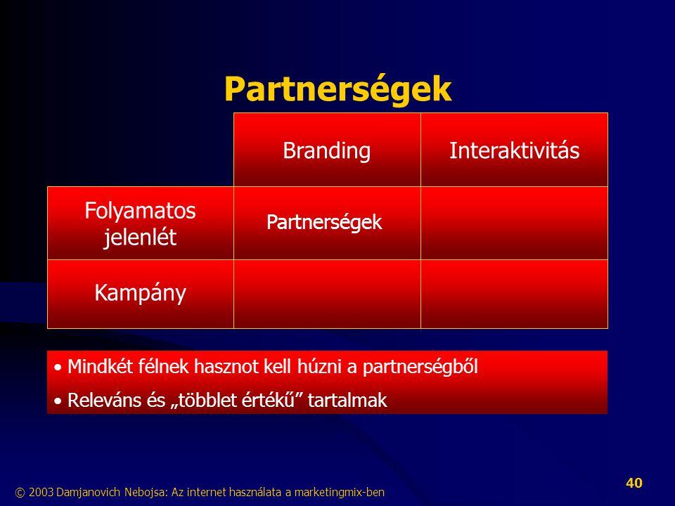 """© 2003 Damjanovich Nebojsa: Az internet használata a marketingmix-ben 40 Partnerségek InteraktivitásBranding Kampány Folyamatos jelenlét • Mindkét félnek hasznot kell húzni a partnerségből • Releváns és """"többlet értékű tartalmak Partnerségek"""