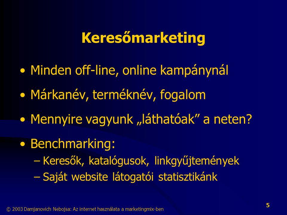 © 2003 Damjanovich Nebojsa: Az internet használata a marketingmix-ben 6 Keresőmarketing InteraktivitásBranding Kampány Folyamatos jelenlét • Költséghatékony jelenlét (website optimalizálás) • Kulcsszavas hirdetés – közel 70% ROI Kulcsszavas hirdetés Website optimalizálás