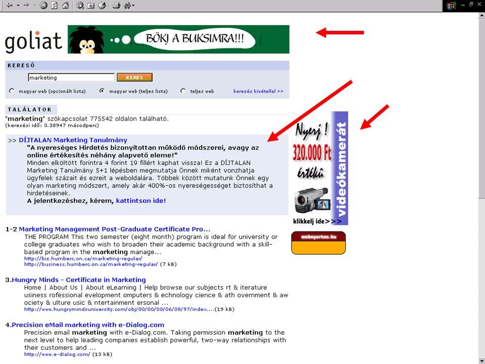 © 2003 Damjanovich Nebojsa: Az internet használata a marketingmix-ben 39 Partnerségek •Szakmai szolgáltatás az online tartalomszolgáltatóknak •Tartalom szolgáltatása speciális website- oknak –Tanulmányok, cikkek, hírek, képek, konferenciák, bemutatók •Inkább PR, mint reklám!