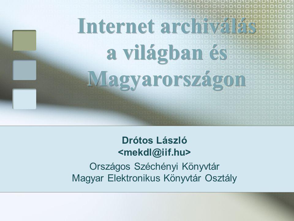 Drótos László Országos Széchényi Könyvtár Magyar Elektronikus Könyvtár Osztály