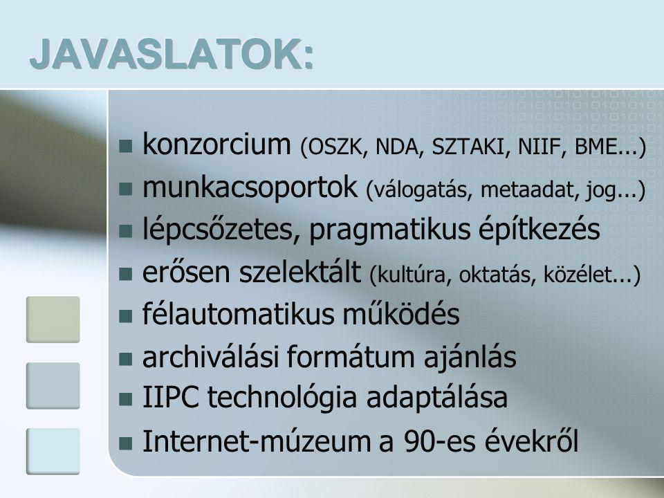  konzorcium (OSZK, NDA, SZTAKI, NIIF, BME...)  munkacsoportok (válogatás, metaadat, jog...)  lépcsőzetes, pragmatikus építkezés  erősen szelektált (kultúra, oktatás, közélet...)  félautomatikus működés  archiválási formátum ajánlás  IIPC technológia adaptálása  Internet-múzeum a 90-es évekről
