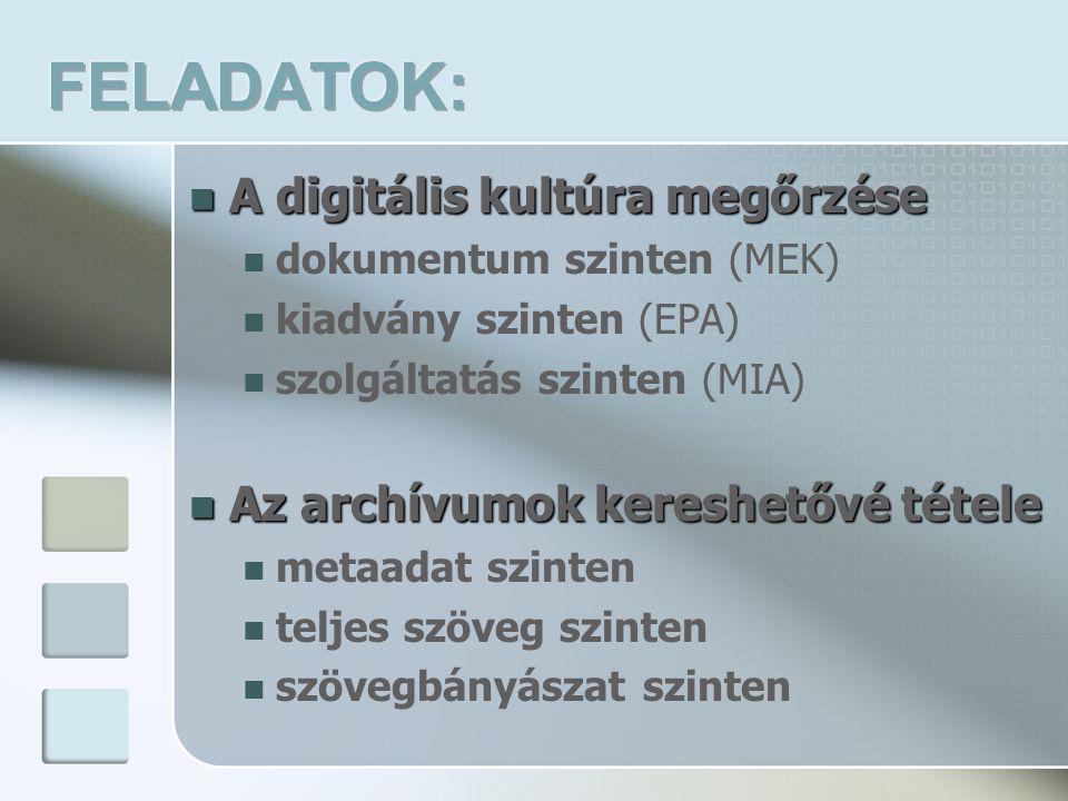  A digitális kultúra megőrzése  dokumentum szinten (MEK)  kiadvány szinten (EPA)  szolgáltatás szinten (MIA)  Az archívumok kereshetővé tétele  metaadat szinten  teljes szöveg szinten  szövegbányászat szinten