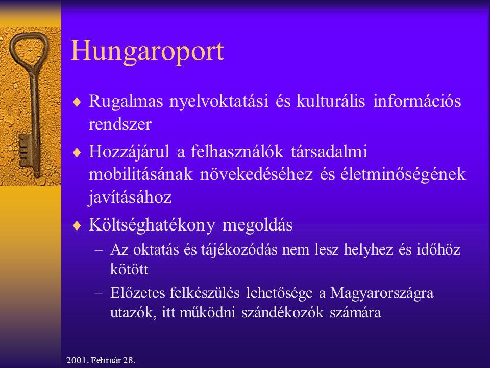 2001. Február 28. Hungaroport  Rugalmas nyelvoktatási és kulturális információs rendszer  Hozzájárul a felhasználók társadalmi mobilitásának növeked