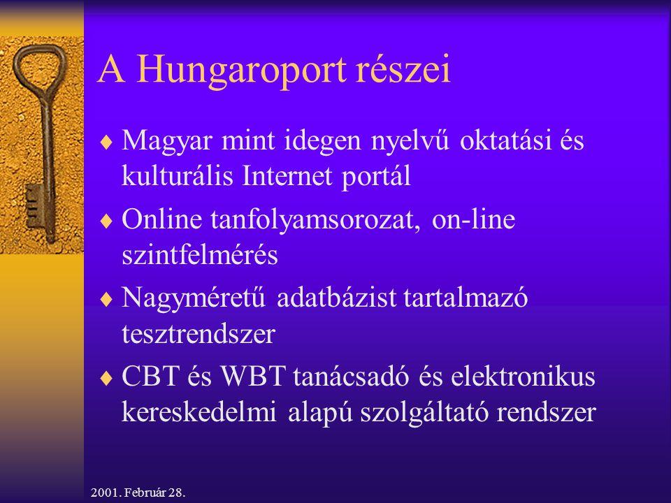 2001. Február 28. A Hungaroport részei  Magyar mint idegen nyelvű oktatási és kulturális Internet portál  Online tanfolyamsorozat, on-line szintfelm