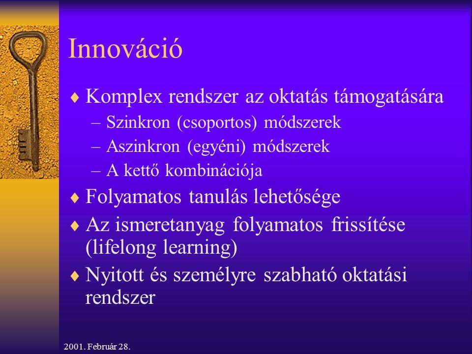 2001. Február 28. Innováció  Komplex rendszer az oktatás támogatására –Szinkron (csoportos) módszerek –Aszinkron (egyéni) módszerek –A kettő kombinác
