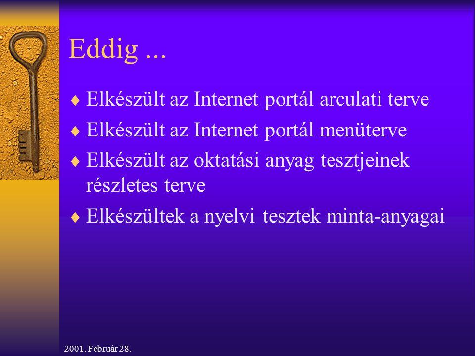2001. Február 28. Eddig...  Elkészült az Internet portál arculati terve  Elkészült az Internet portál menüterve  Elkészült az oktatási anyag tesztj