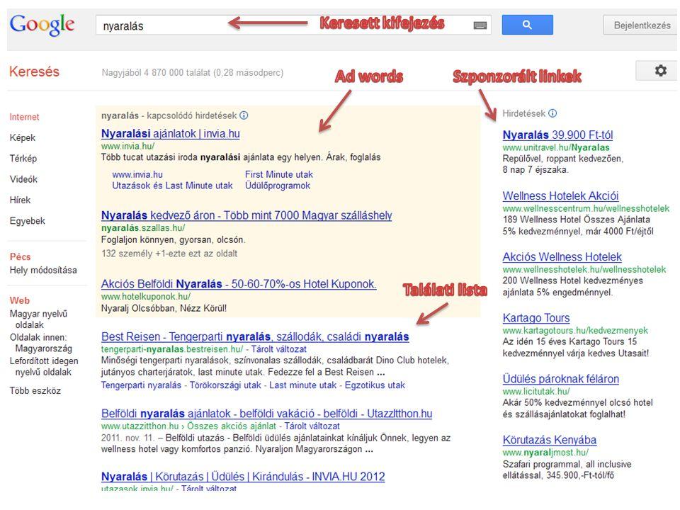 Üzleti modellek Kulcsszavas hirdetések • Ad Sense (Google továbbfejlesztés) • Nem a keresőfelületen jelenik meg a hirdetés, hanem a rendszerbe csatlakozott külső tartalomszolgáltatóknál • A tartalomszolgáltató csatlakozik és a weboldalának tartalmához illeszkedő reklámok jelennek meg nála • A kattintáskor a Google fizet a tartalomszolgáltatónak jutalékot, abból, amit a hirdető cég a keresőóriásnak fizet • Költséghatékonyabb mint a bannerhirdetések és a célközönség is jobban megszólítható • Közép-Európa vezető reklámkoordinátora: a magyar ETARGET