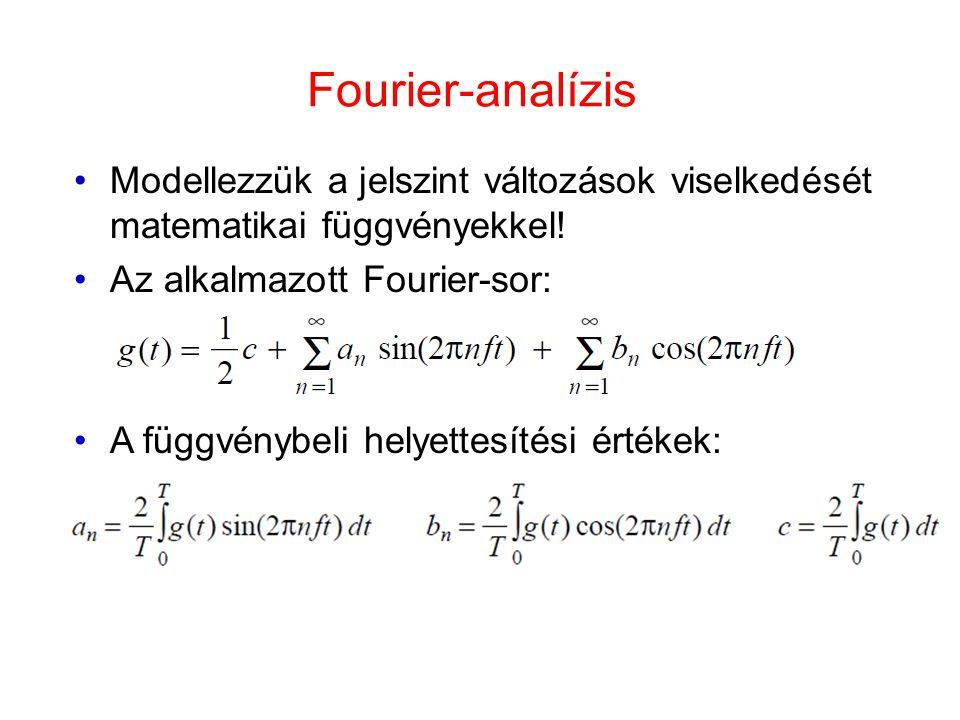 Fourier-analízis •Modellezzük a jelszint változások viselkedését matematikai függvényekkel! •Az alkalmazott Fourier-sor: •A függvénybeli helyettesítés