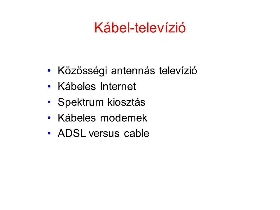 Kábel-televízió •Közösségi antennás televízió •Kábeles Internet •Spektrum kiosztás •Kábeles modemek •ADSL versus cable