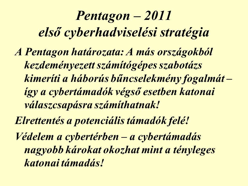 Pentagon – 2011 első cyberhadviselési stratégia A Pentagon határozata: A más országokból kezdeményezett számítógépes szabotázs kimeríti a háborús bűncselekmény fogalmát – így a cybertámadók végső esetben katonai válaszcsapásra számíthatnak.