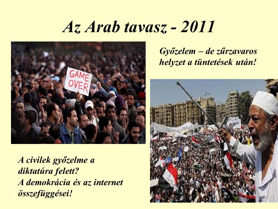 Az Arab tavasz - 2011 A civilek győzelme a diktatúra felett.