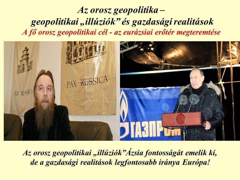 """Az orosz geopolitika – geopolitikai """"illúziók és gazdasági realitások A fő orosz geopolitikai cél - az eurázsiai erőtér megteremtése Az orosz geopolitikai """"illúziók Ázsia fontosságát emelik ki, de a gazdasági realitások legfontosabb iránya Európa!"""