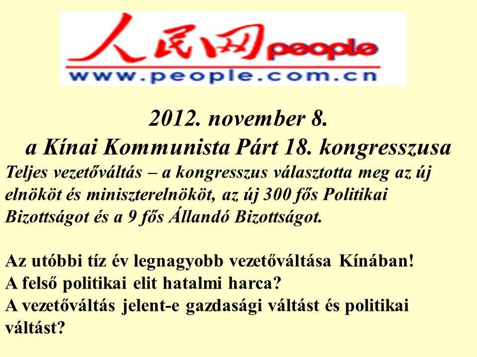 2012.november 8. a Kínai Kommunista Párt 18.