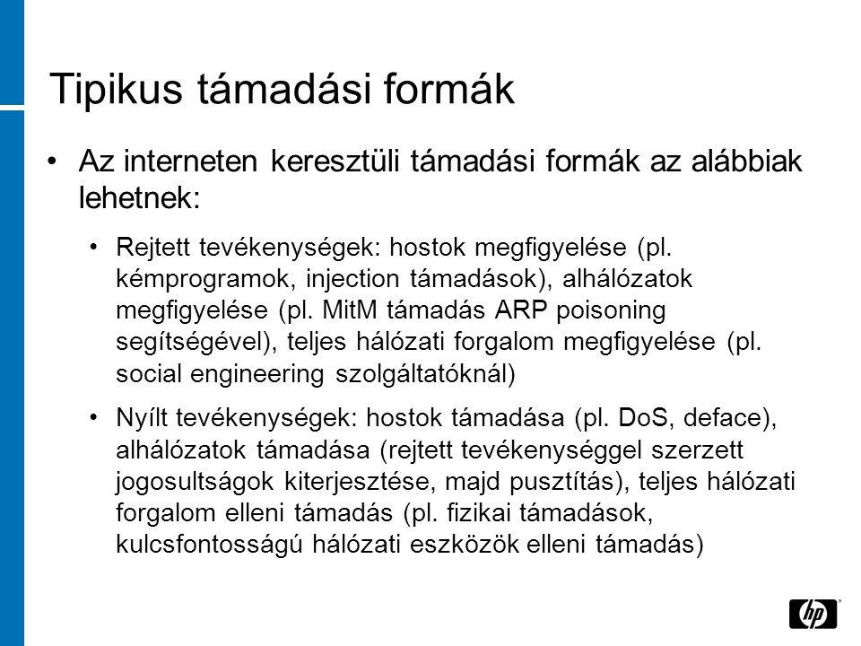 Tipikus támadási formák •Az interneten keresztüli támadási formák az alábbiak lehetnek: •Rejtett tevékenységek: hostok megfigyelése (pl.