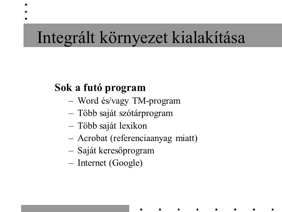 Integrált környezet kialakítása Sok a futó program –Word és/vagy TM-program –Több saját szótárprogram –Több saját lexikon –Acrobat (referenciaanyag mi