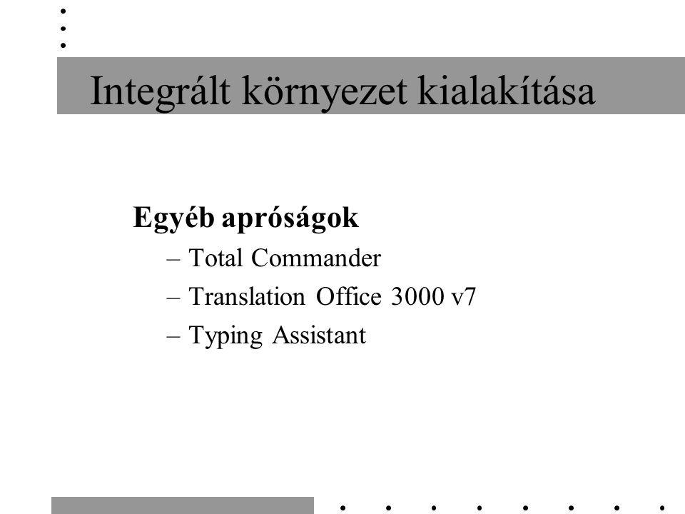 Integrált környezet kialakítása Egyéb apróságok –Total Commander –Translation Office 3000 v7 –Typing Assistant