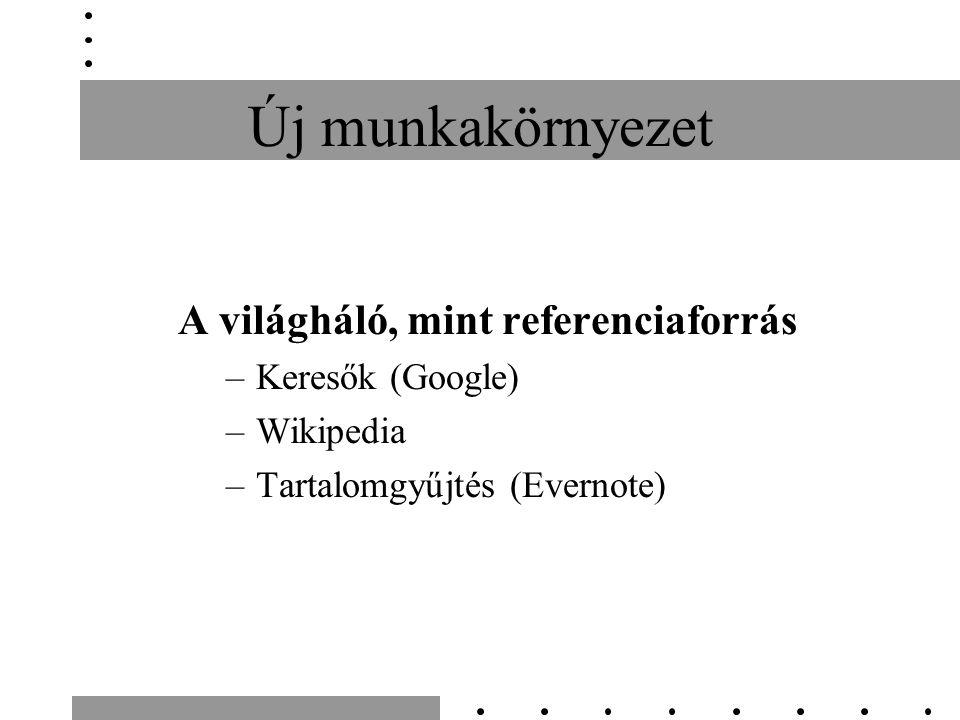 Új munkakörnyezet A világháló, mint referenciaforrás –Keresők (Google) –Wikipedia –Tartalomgyűjtés (Evernote)