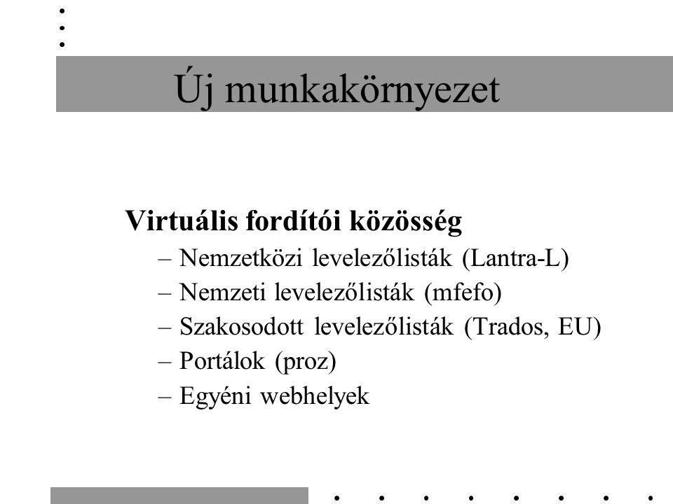 Új munkakörnyezet Virtuális fordítói közösség –Nemzetközi levelezőlisták (Lantra-L) –Nemzeti levelezőlisták (mfefo) –Szakosodott levelezőlisták (Trado