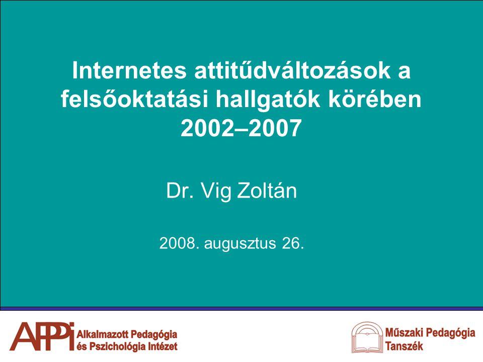 Internetes attitűdváltozások a felsőoktatási hallgatók körében 2002–2007 Dr.