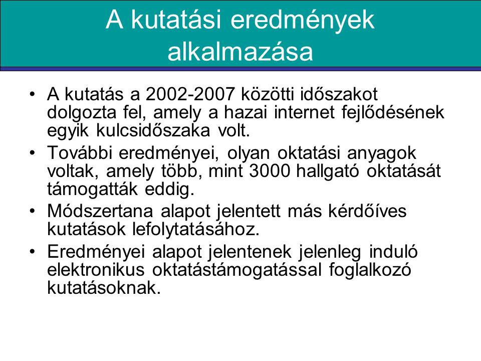 A kutatási eredmények alkalmazása •A kutatás a 2002-2007 közötti időszakot dolgozta fel, amely a hazai internet fejlődésének egyik kulcsidőszaka volt.
