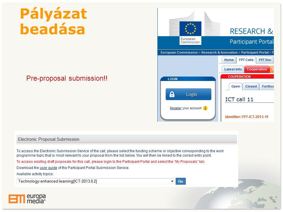 Pályázat beadása Pre-proposal submission!!