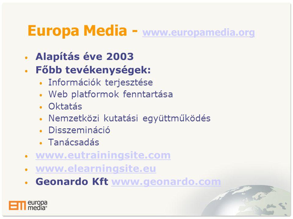 Europa Media - www.europamedia.org www.europamedia.org • Alapítás éve 2003 • Főbb tevékenységek: • Információk terjesztése • Web platformok fenntartása • Oktatás • Nemzetközi kutatási együttműködés • Disszemináció • Tanácsadás • www.eutrainingsite.com www.eutrainingsite.com • www.elearningsite.eu www.elearningsite.eu • Geonardo Kft www.geonardo.comwww.geonardo.com