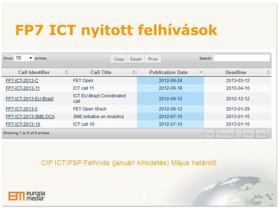 ••• 5 FP7 ICT nyitott felhívások CIP ICT/PSP Felhívás (januári kihirdetés) Május határidő