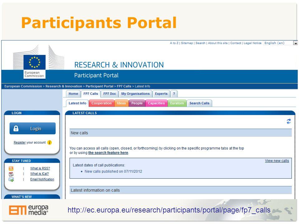 Participants Portal http://ec.europa.eu/research/participants/portal/page/fp7_calls