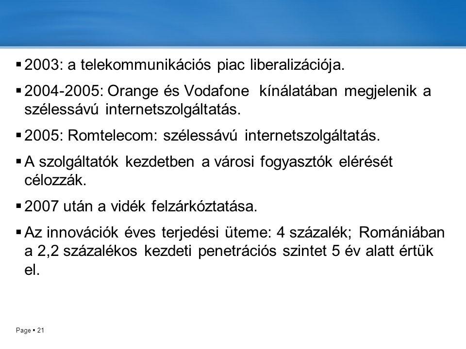 Page  21  2003: a telekommunikációs piac liberalizációja.