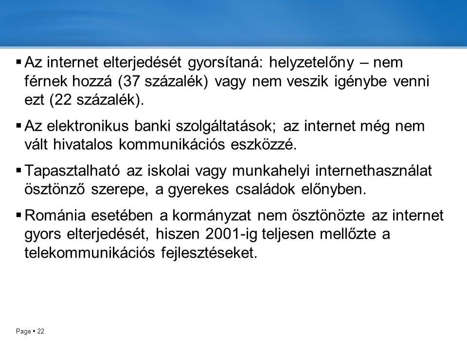 Page  22  Az internet elterjedését gyorsítaná: helyzetelőny – nem férnek hozzá (37 százalék) vagy nem veszik igénybe venni ezt (22 százalék).