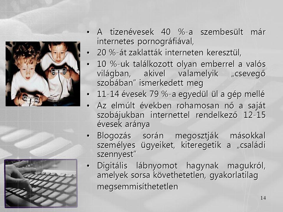 14 •A tizenévesek 40 %-a szembesült már internetes pornográfiával, •20 %-át zaklatták interneten keresztül, •10 %-uk találkozott olyan emberrel a való