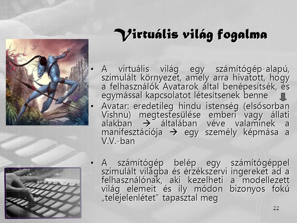 22 Virtuális világ fogalma •A virtuális világ egy számítógép-alapú, szimulált környezet, amely arra hivatott, hogy a felhasználók Avatarok által benép