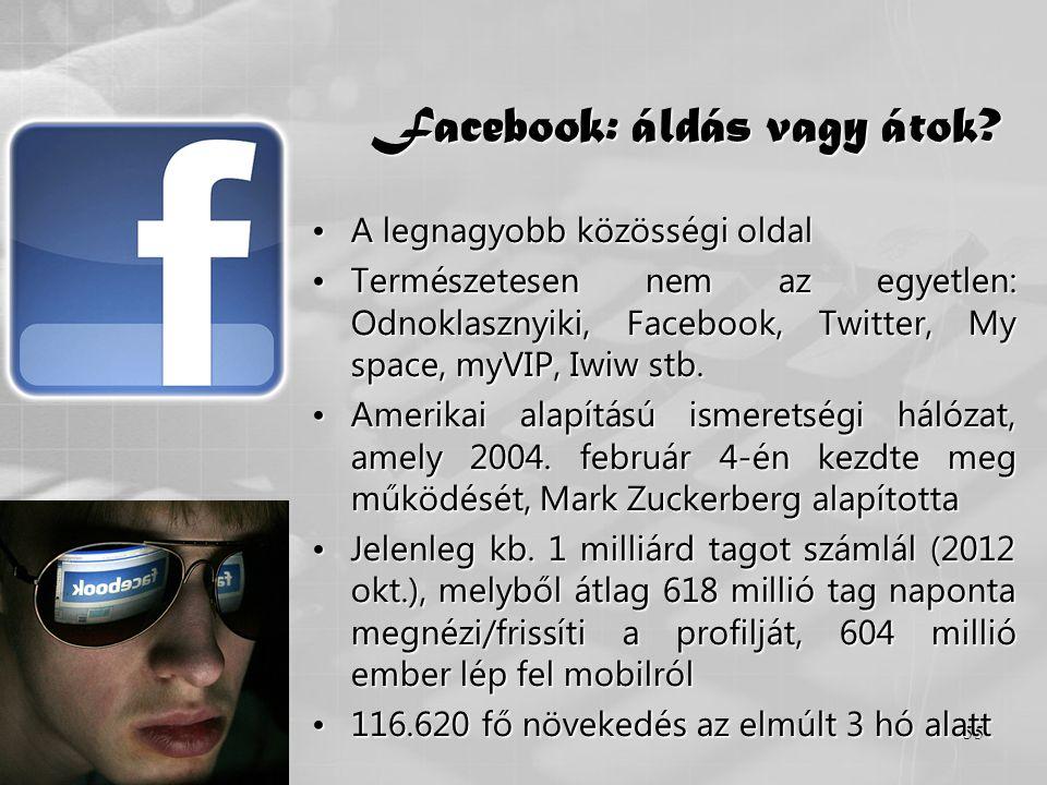 55 Facebook: áldás vagy átok? •A legnagyobb közösségi oldal •Természetesen nem az egyetlen: Odnoklasznyiki, Facebook, Twitter, My space, myVIP, Iwiw s