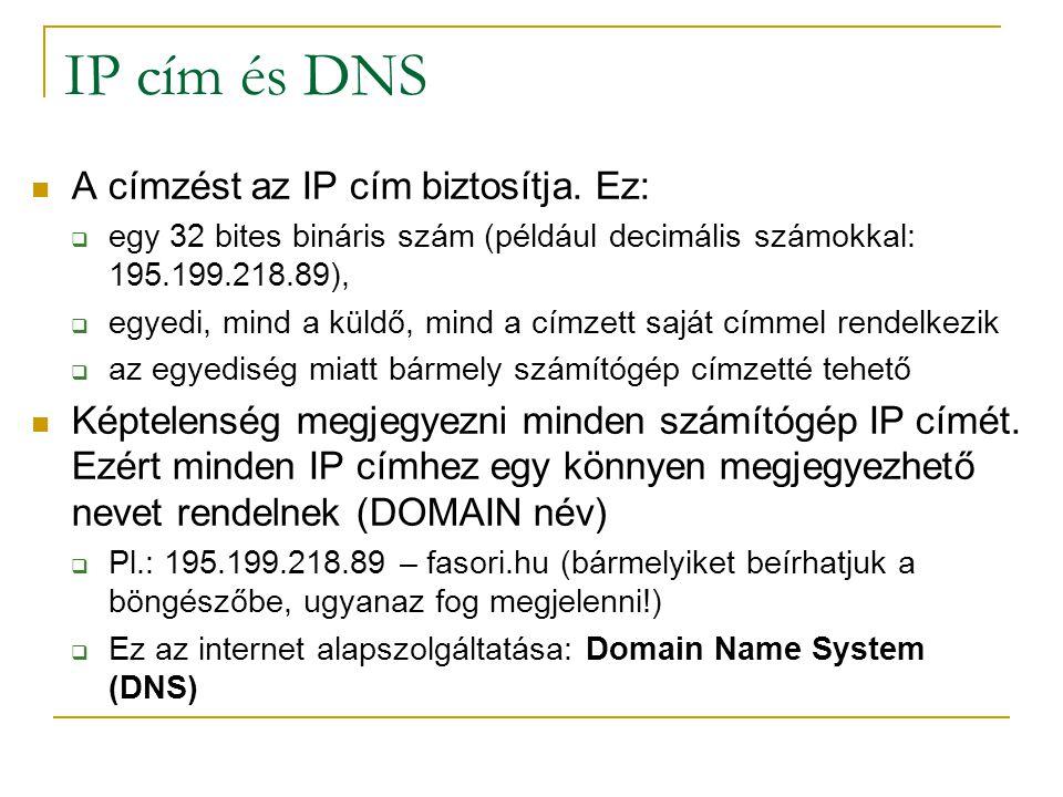 IP cím és DNS  A címzést az IP cím biztosítja. Ez:  egy 32 bites bináris szám (például decimális számokkal: 195.199.218.89),  egyedi, mind a küldő,