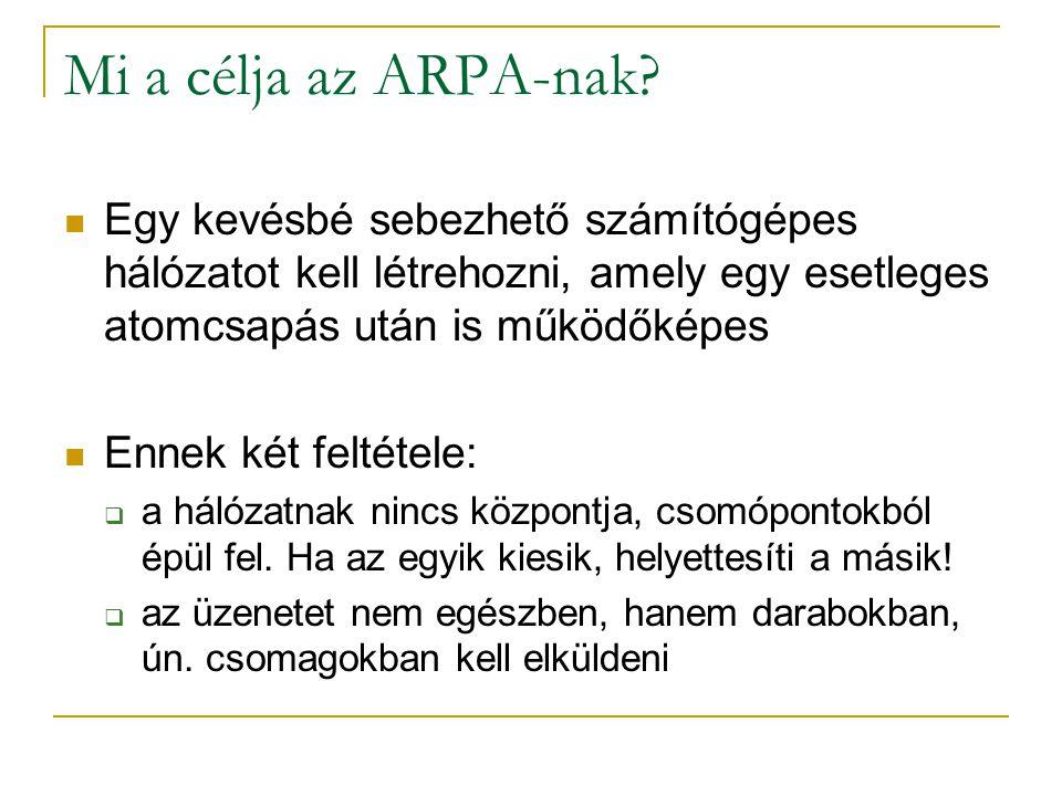 Mi a célja az ARPA-nak?  Egy kevésbé sebezhető számítógépes hálózatot kell létrehozni, amely egy esetleges atomcsapás után is működőképes  Ennek két