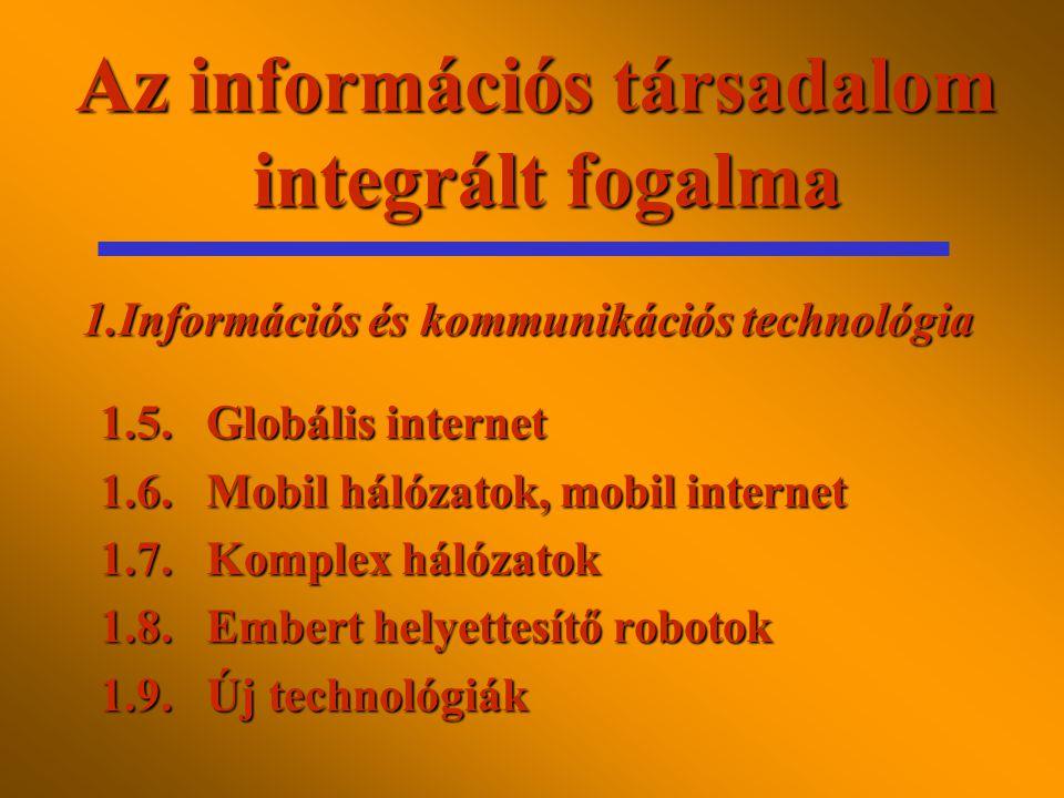 Az információs társadalom integrált fogalma (2000) 1.1.Komputerizáció 1.2.Digitalizálás 1.3.Interaktivitás 1.4.Interoperativitás 1.