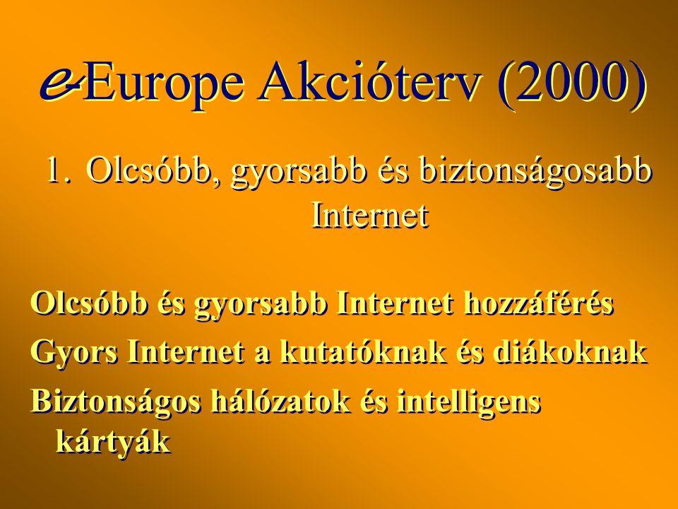1.Olcsóbb, gyorsabb és biztonságosabb Internet Olcsóbb és gyorsabb Internet hozzáférés Gyors Internet a kutatóknak és diákoknak Biztonságos hálózatok és intelligens kártyák Olcsóbb és gyorsabb Internet hozzáférés Gyors Internet a kutatóknak és diákoknak Biztonságos hálózatok és intelligens kártyák e -Europe Akcióterv (2000)