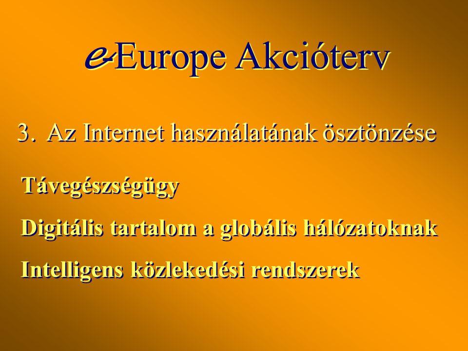3.Az Internet használatának ösztönzése e Az e -kereskedelem elősegítése Elektronikus közigazgatás: elektronikus hozzáférés a közszolgáltatásokhoz e Az e -kereskedelem elősegítése Elektronikus közigazgatás: elektronikus hozzáférés a közszolgáltatásokhoz e -Europe Akcióterv