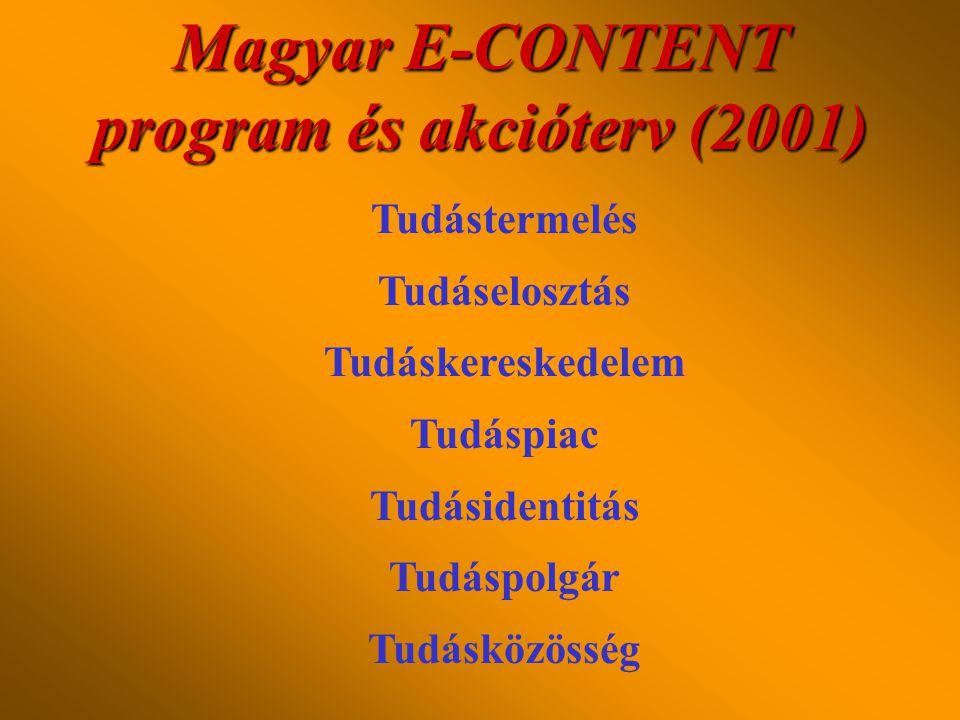 Európai Unió E-CONTENT programja (2000) •Tudásértékesítés (az információs közvagyon hasznosításának ösztönzése) •Tudásidentitás (a nyelvi és kulturáli
