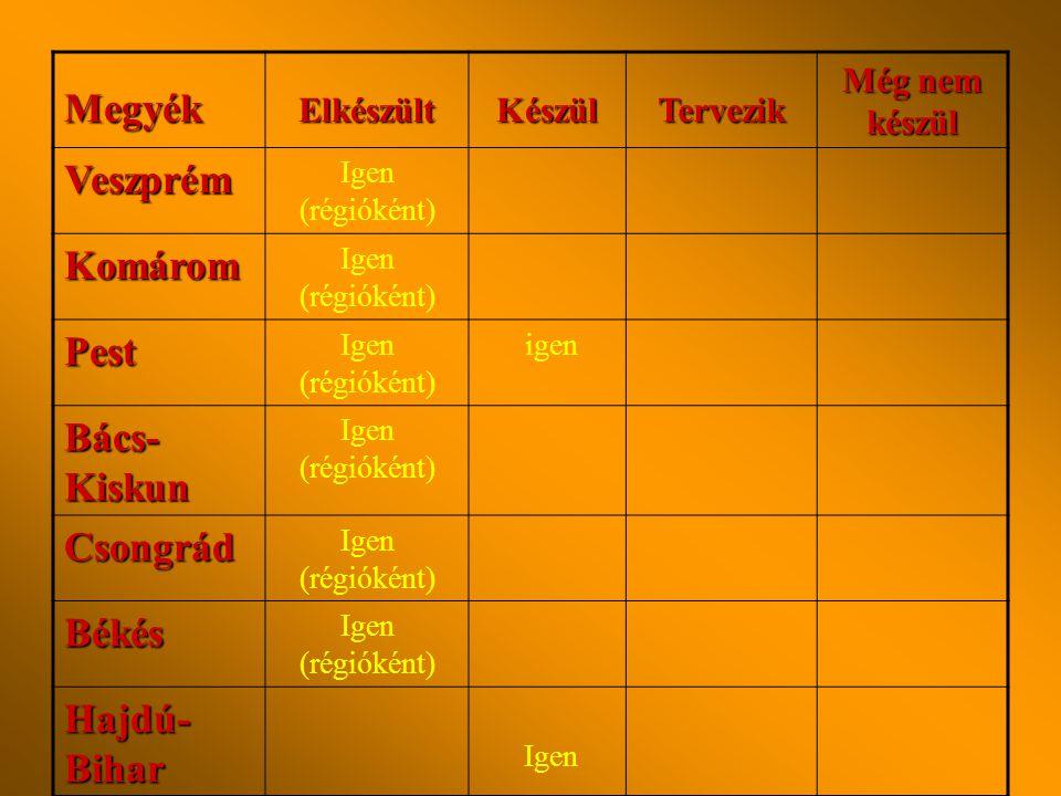 MegyékElkészültKészülTervezik Még nem készül Győr- Sopron Igen (régióként) Igen (megyeként) Vas Igen (régióként) Zala Igen (megyeként) Somogy Igen Baranya Tolna Nem Fejér Igen (régióként is)