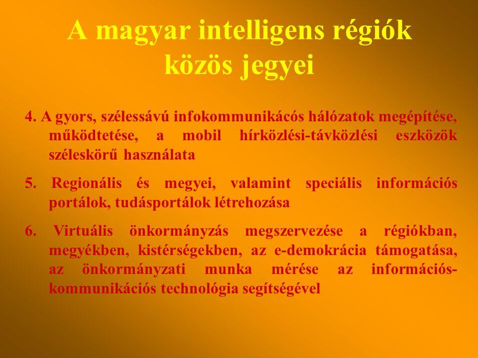 A magyar intelligens régiók közös jegyei 1.A tudásalapú gazdaság, az e-gazdaság és e-kereskedelem megerősítése, a K+F előtérbe kerülése, a hagyományos