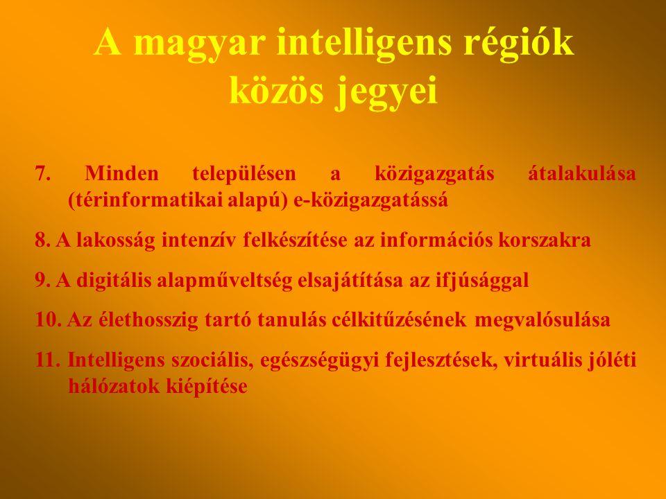 A magyar intelligens régiók közös jegyei 4. A gyors, szélessávú infokommunikácós hálózatok megépítése, működtetése, a mobil hírközlési-távközlési eszk