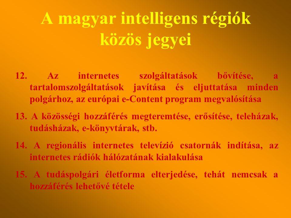 A magyar intelligens régiók közös jegyei 7. Minden településen a közigazgatás átalakulása (térinformatikai alapú) e-közigazgatássá 8. A lakosság inten