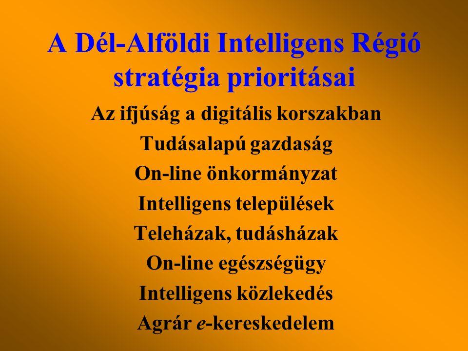 Az ifjúság a digitális korszakban Tudásalapú gazdaság On-line önkormányzat Intelligens települések Teleházak, tudásházak On-line egészségügy Intelligens közlekedés Agrár e-kereskedelem A Dél-Alföldi Intelligens Régió stratégia prioritásai