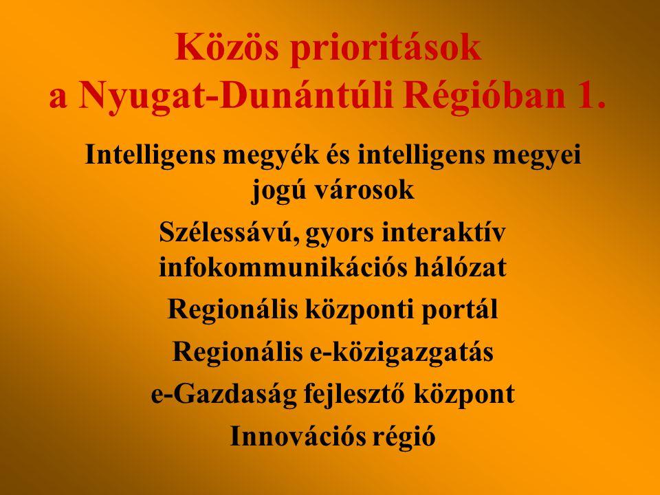 Intelligens megyék és intelligens megyei jogú városok Szélessávú, gyors interaktív infokommunikációs hálózat Regionális központi portál Regionális e-közigazgatás e-Gazdaság fejlesztő központ Innovációs régió Közös prioritások a Nyugat-Dunántúli Régióban 1.