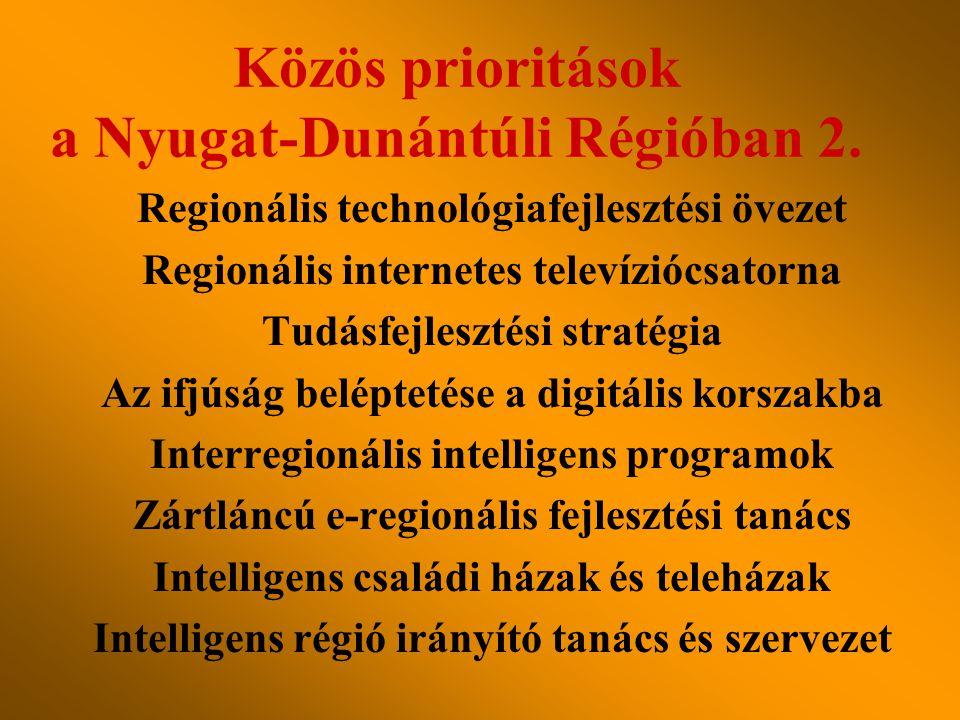 Regionális technológiafejlesztési övezet Regionális internetes televíziócsatorna Tudásfejlesztési stratégia Az ifjúság beléptetése a digitális korszakba Interregionális intelligens programok Zártláncú e-regionális fejlesztési tanács Intelligens családi házak és teleházak Intelligens régió irányító tanács és szervezet Közös prioritások a Nyugat-Dunántúli Régióban 2.