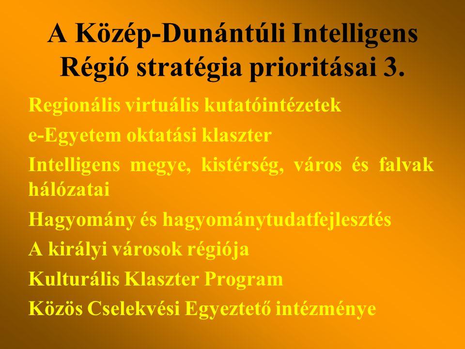 Regionális virtuális kutatóintézetek e-Egyetem oktatási klaszter Intelligens megye, kistérség, város és falvak hálózatai Hagyomány és hagyománytudatfejlesztés A királyi városok régiója Kulturális Klaszter Program Közös Cselekvési Egyeztető intézménye A Közép-Dunántúli Intelligens Régió stratégia prioritásai 3.