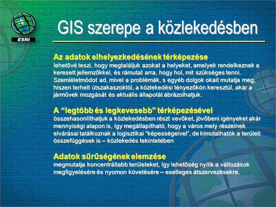 GIS szerepe a közlekedésben Az adatok elhelyezkedésének térképezése lehetővé teszi, hogy megtaláljuk azokat a helyeket, amelyek rendelkeznek a keresett jellemzőkkel, és rámutat arra, hogy hol, mit szükséges tenni.