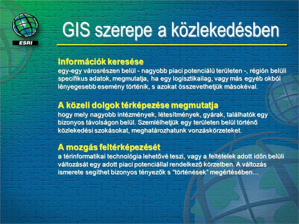 GIS szerepe a közlekedésben Információk keresése egy-egy városrészen belül - nagyobb piaci potenciálú területen -, régión belüli specifikus adatok, megmutatja, ha egy logisztikailag, vagy más egyéb okból lényegesebb esemény történik, s azokat összevethetjük másokéval.
