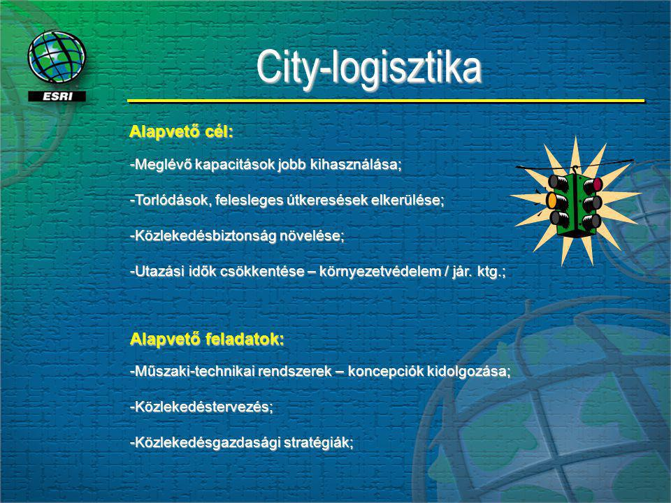City-logisztikaCity-logisztika -Meglévő kapacitások jobb kihasználása; -Torlódások, felesleges útkeresések elkerülése; -Közlekedésbiztonság növelése; -Utazási idők csökkentése – környezetvédelem / jár.